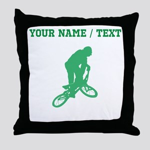 Green BMX Biker Silhouette (Custom) Throw Pillow